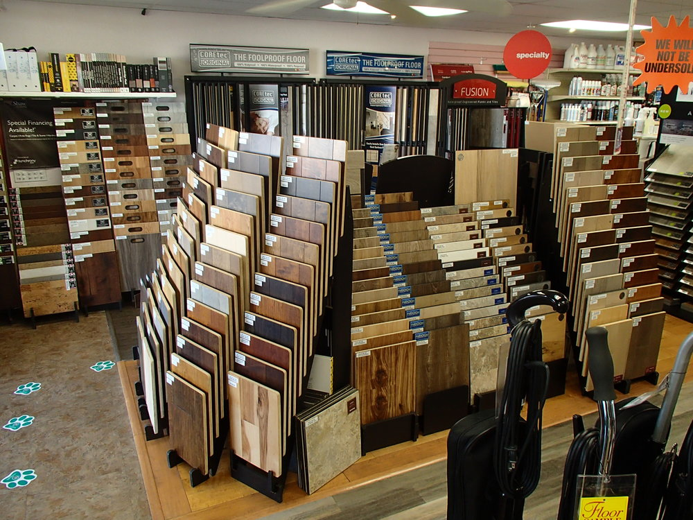 We carry a large selection of carpet, wood, laminate, vinyl, fiber floors, cork, LVT & LVP for both Commercial & Residential Applications. Samples available in store & can be taken home