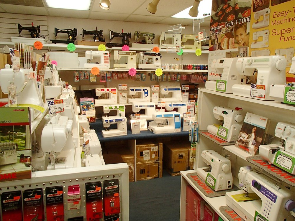 We carry a variety of sewing machines, sewing machine accessories, and books.
