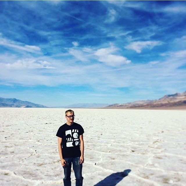@saltedteeth in Death Valley, wearing this shirt I made. Way to wear black in the desert. Style knows no uv index.