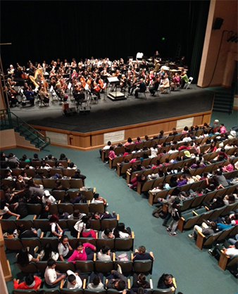 Youth Concerts for 4th and 5th graders are performed at the Henry J. Mello Center for the Performing Arts in Watsonville (above) and the Santa Cruz Civic Auditorium.