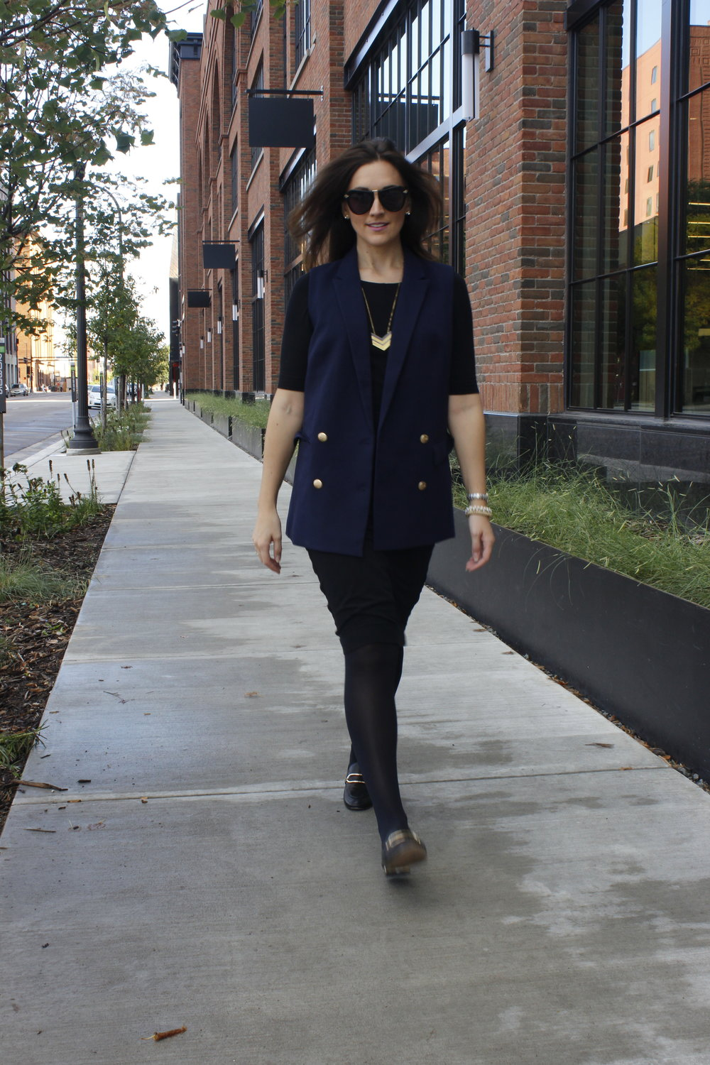 Navy vest, The Limited (sold out).  Dress, Diane Von Furstenberg (past season). Shoes, Karl Lagerfeld (sold out) Similar  here
