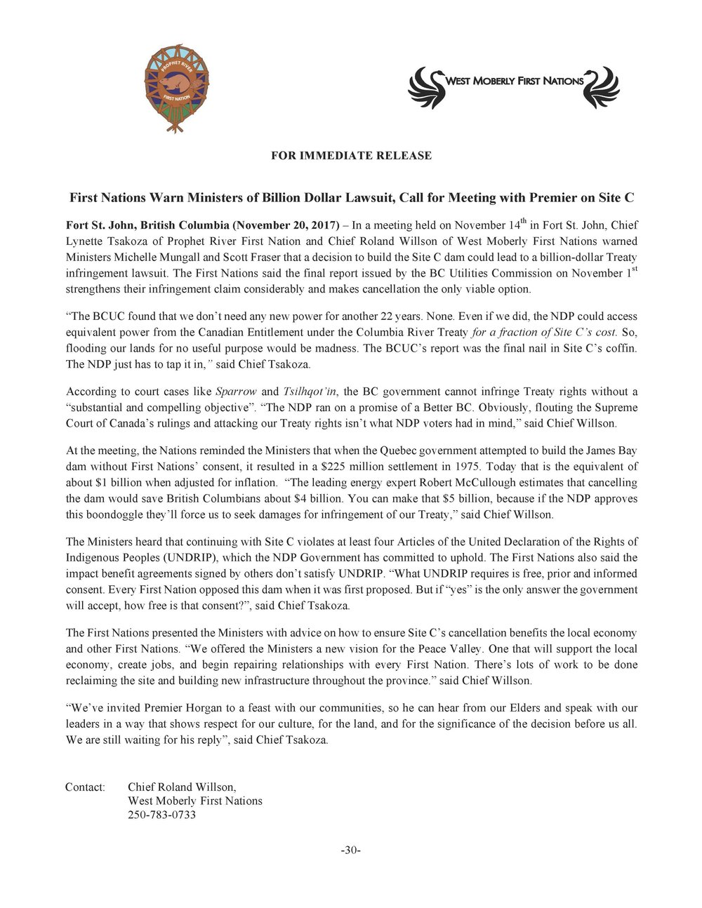 2017-11-20 Press Release (RE Billion Dollar Lawsuit Mtg with BC Premier)-image.jpg