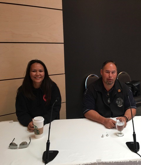 Chief Lynette Tsakoza (left) and Chief Roland Willson (right) present at the BC Utilities Commission Inquiry into Site C