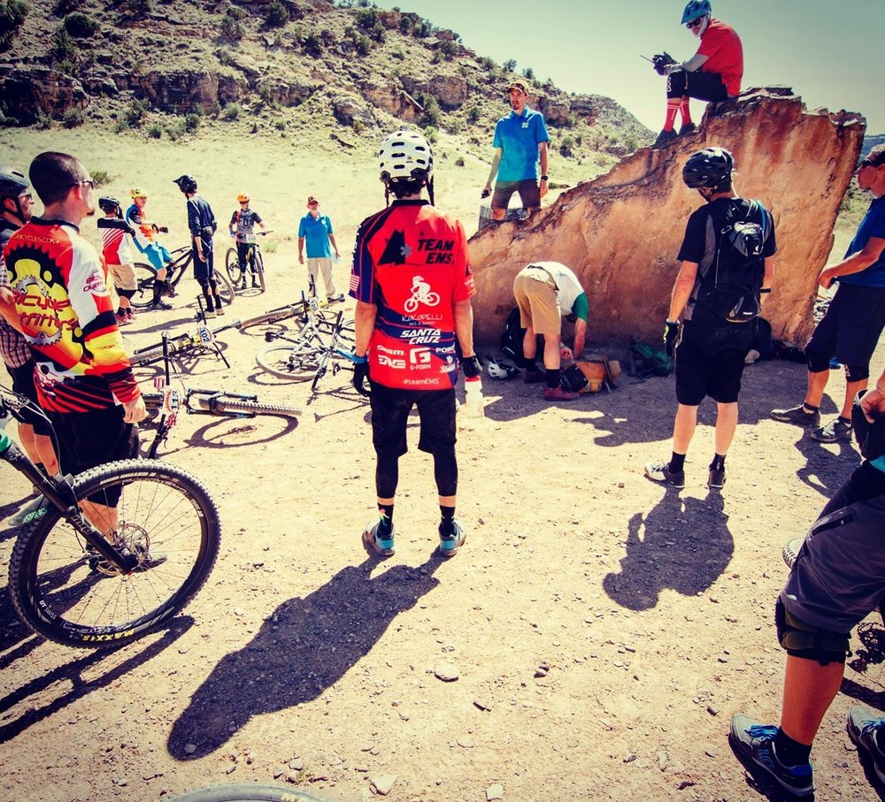 Race brief at a very scenic rock formation in Junction.