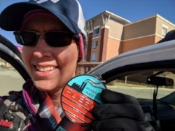 Lynda Wacht braved chilly temps under sunny skies at the Pueblo Marathon in February.