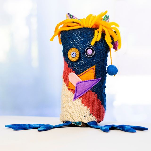 My name is Lance. I like writing Harry Potter fan fiction and slightly burnt bacon! Lance is still looking for his Forever Home. Lance would do best in an omnivorous household among people who won't mention his orange hairpiece. . . . . . . #projectsqueeble #playfriend #handmadehour #fiberartistsofinstagram #upcycledart #upcycledesign #artforyourhome #artforinteriors #handmadewithlove❤ #textilesdesign #creativehappylife #calledtobecreative #createmakeshare #craftsposure #makersvillage #modernmaker #wearethemakers #createdtocreate #fiberart #fiberarts #originalartwork #handmade #artoftheday #makersmovement #makersgonnamake #makers #monsters #textiles #squishy #snuggles