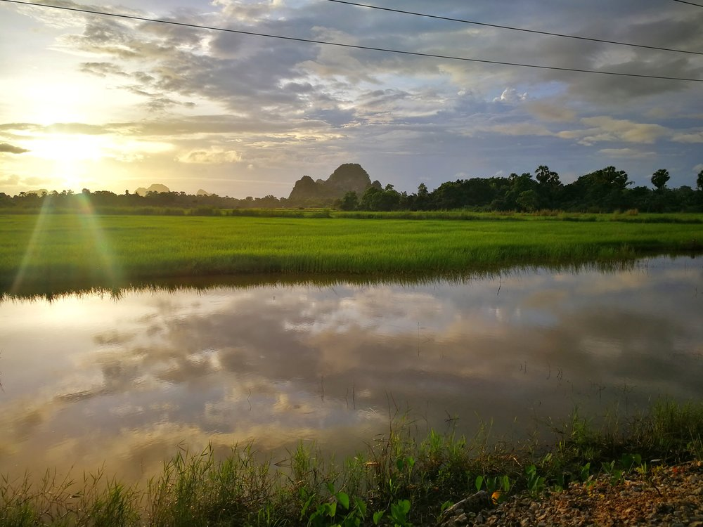 Sunset at the edge of civilization Hpa-An