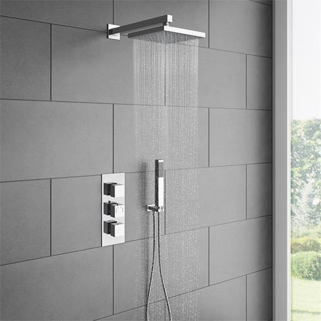 Milan Triple Thermostatic Shower Package With Head + Handset