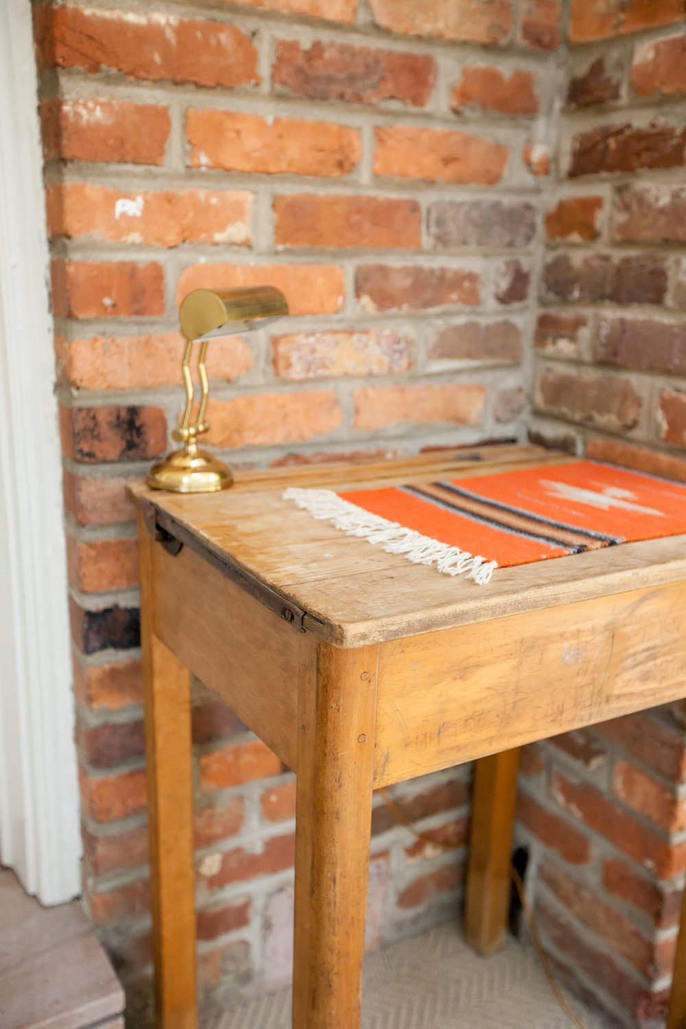BUDDY:  Old English School Desk $220 Dimensions: 22x18x30