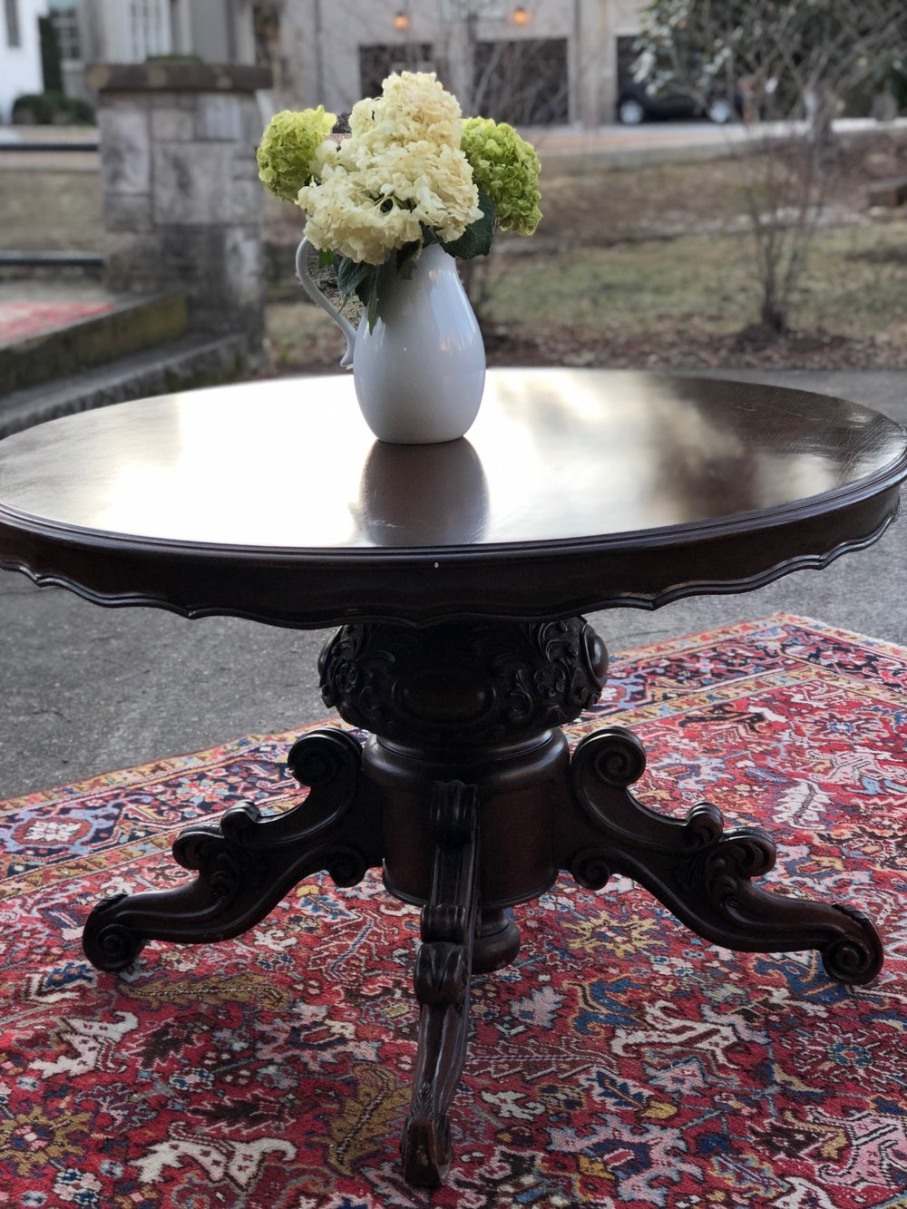 ANASTASIA:  Heavily Carved Round Mahogany Table $695 Dimensions: 47x30