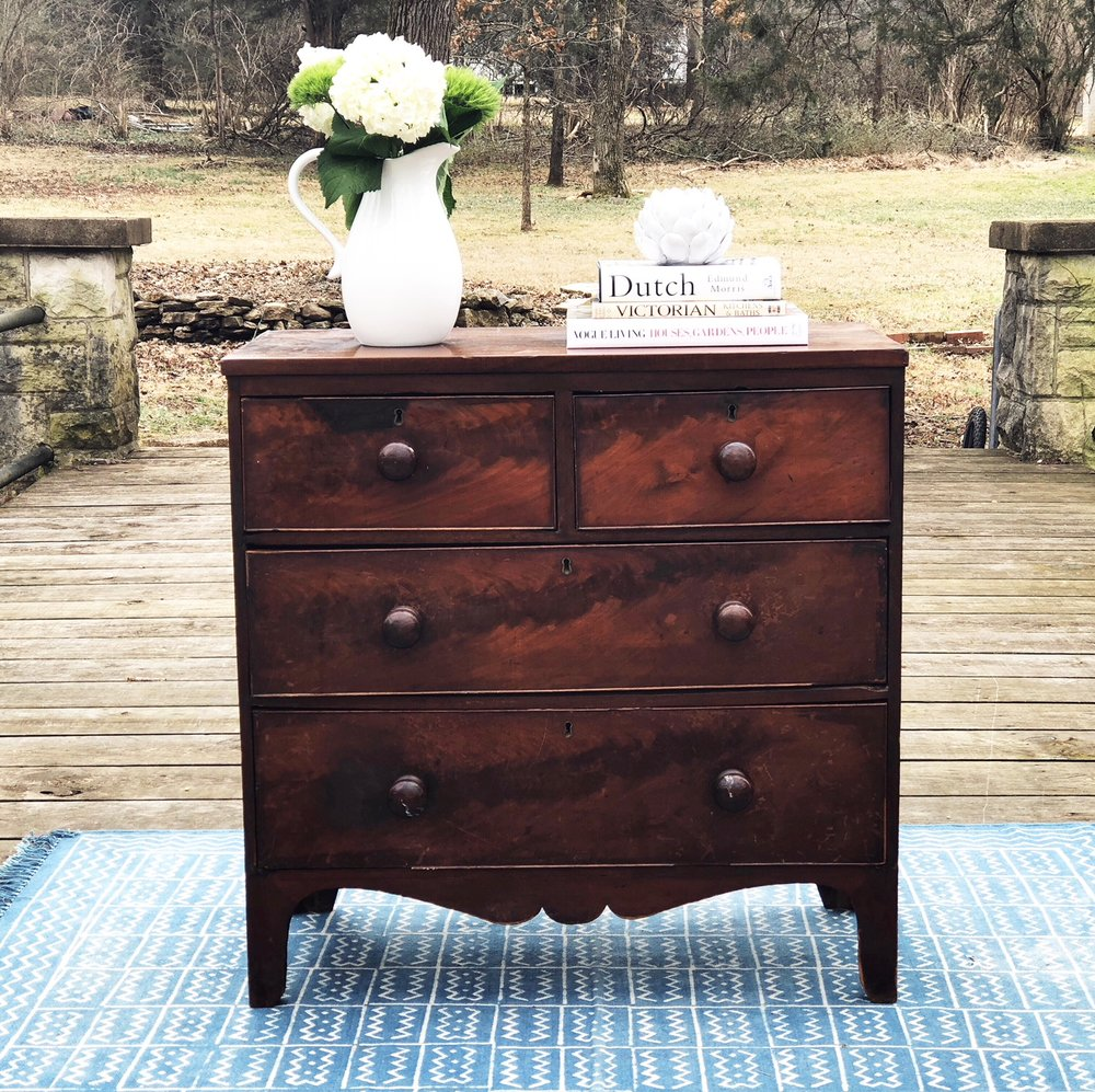 ANTHONY:  Victorian mahogany 2-Over-2 Drawer Chest $695  Dimensions: 36x17.75x35.5