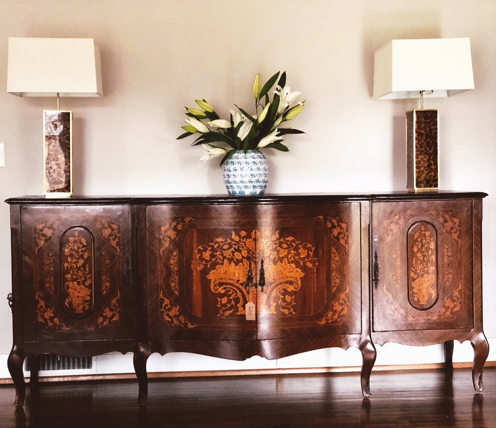 JULIET:  French Mahogany Inlaid 4-Door Sideboard $1,600  Dimensions: 90x22.75x39