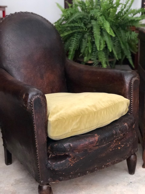 GEOFFREY:  French Antique Leather Chair $1,895