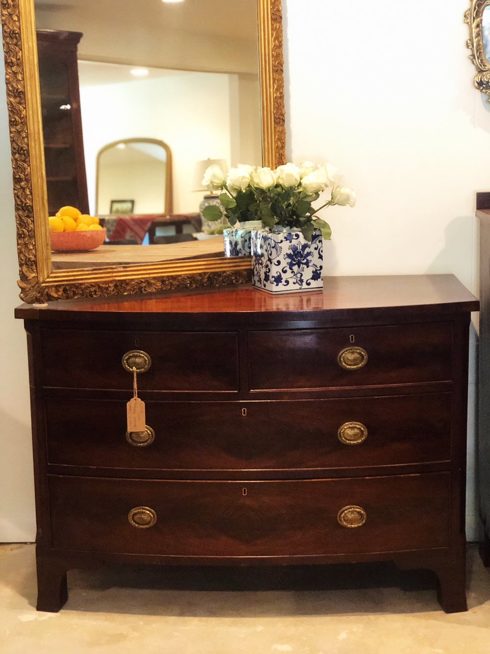 HARPER: Georgian Mahogany Bowfront 2-Over-2 Chest $1,200