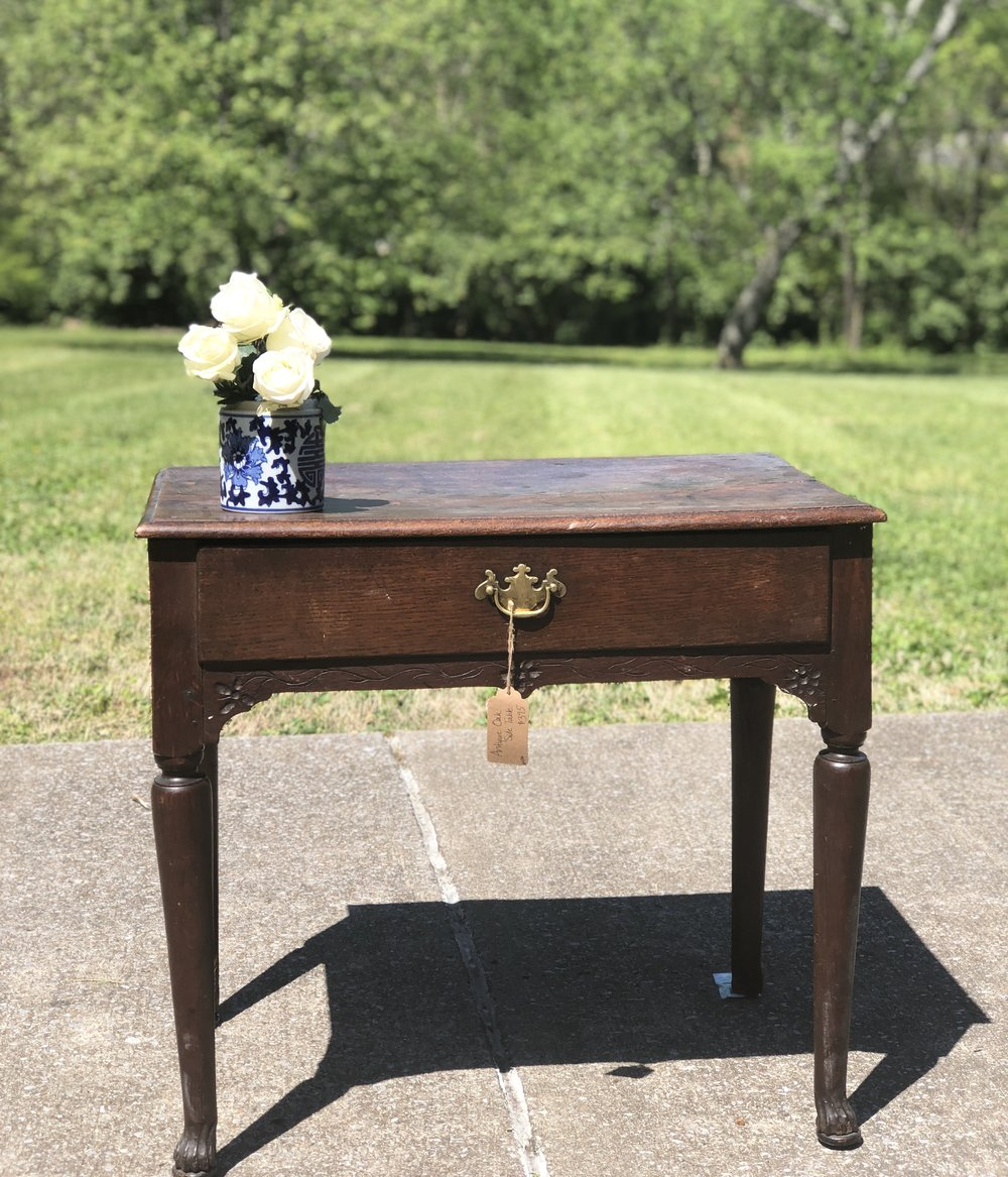 MARSHALL:  Antique Oak Side Table $395