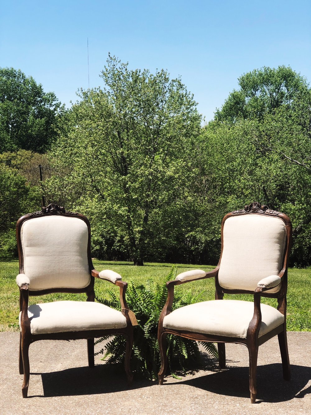 THE STATONS:  Antique French Linen Armchairs $1,100