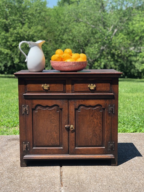SABRINA:  Georgian Oak 2-Door Cabinet $625 Dimensions: 36x18x33