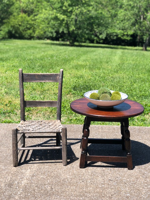 "FERN:  Vintage Rush Bottom Chair $75   LOTTE:  Round Oak Occasional Table $175 Dimensions: 24""Dx18""H"