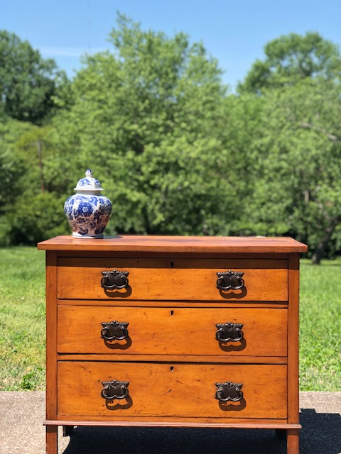 GEORGE:  Victorian Satinwood 3-Drawer Chest $575 Dimensions: 36x17x31