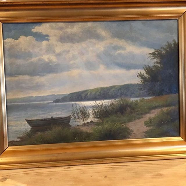 Here's a beautiful antique Danish painting to remind you that the sun will in fact come back out one day ☀️ we have beautiful paintings lining the showroom walls right now, come check them out on Tuesday! #happyweekend #wheresthesun #antiquepaintings #danishpainting #thatlightthough