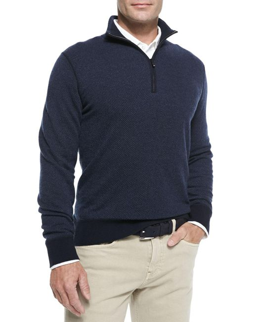 Men's Loro Piana Roadster Half-zip Cashmere Sweater - $447