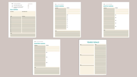 Lauren Ashley's Agenda System - Daily, weekly, monthly, and quarterly agenda system that ties into yearly goals.