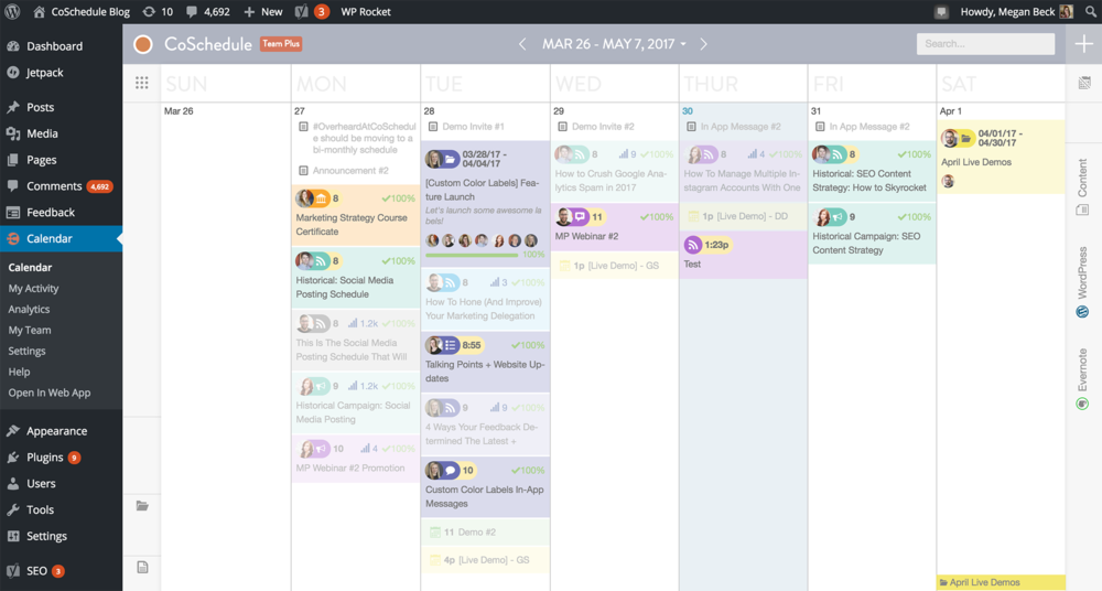 Photo Credit: CoSchedule - Calendar view inside of Wordpress