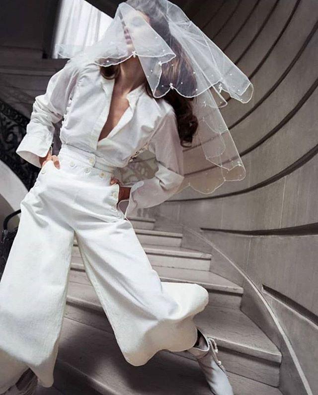 Bridal pants alert 👰🏻 🚨 #bridevibes . . . Image via @vogueparis
