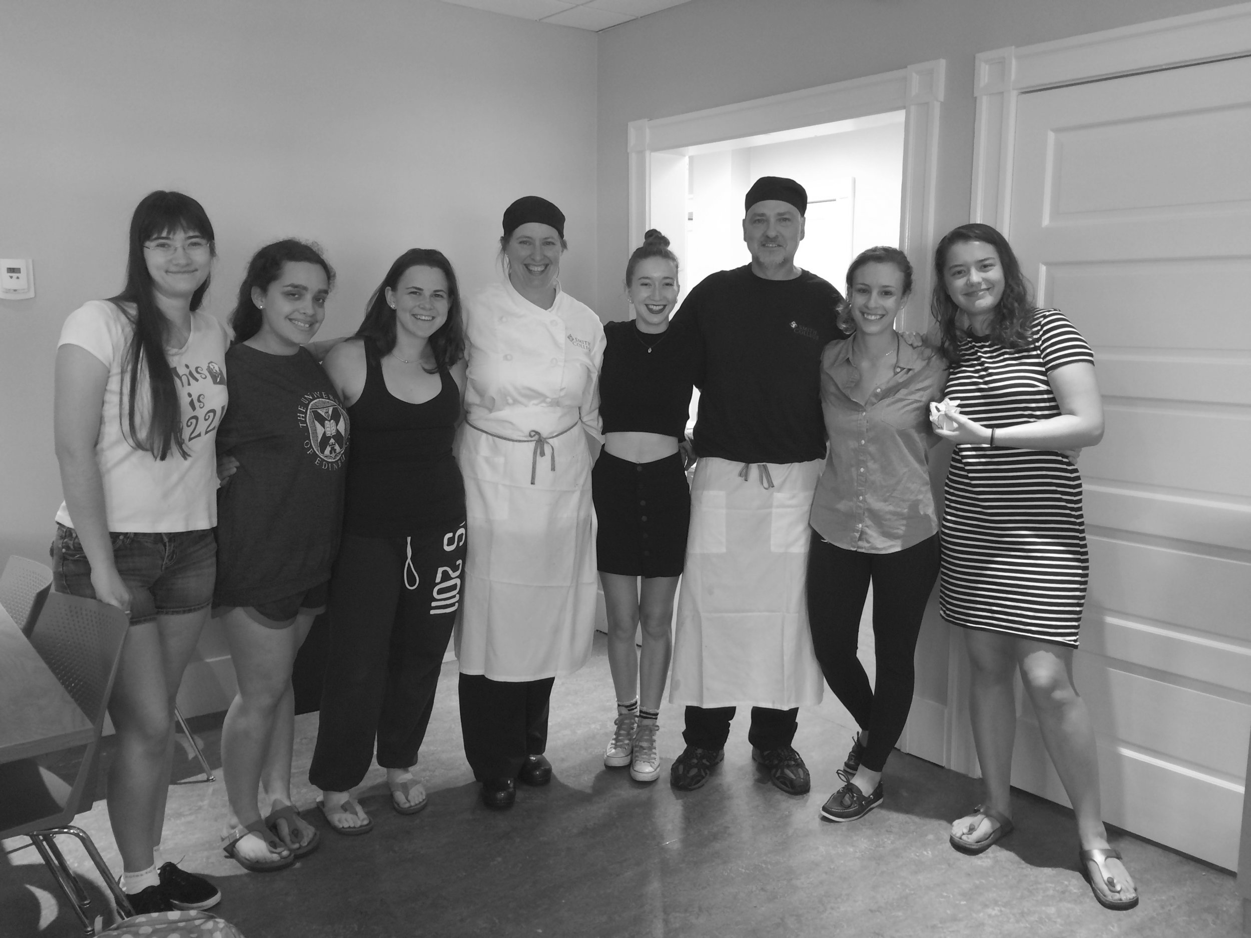 Photo by Veronica Brown '16 Several gluten-free students pose in the new Dawes dining hall with chefs Lisa Seymour and Scott Rubeck.