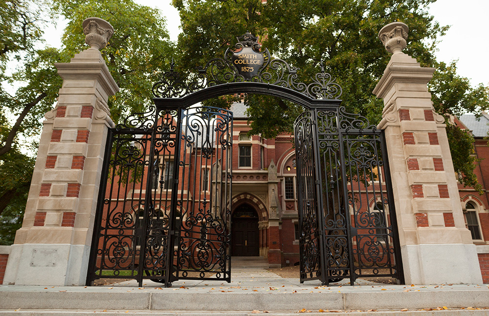 Photo by Carolyn Brown '16 | The iconic gates are back after being removed for restoration.