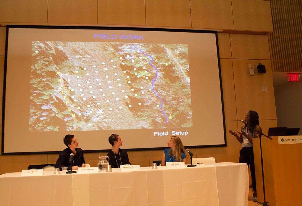 Photo by Jen Zhu '16 | Anny Sainvil '17 presents field research conducted during her work with the Boulder Creek Critical Zone Observatory at a Climate Change & Sustainable Food panel.