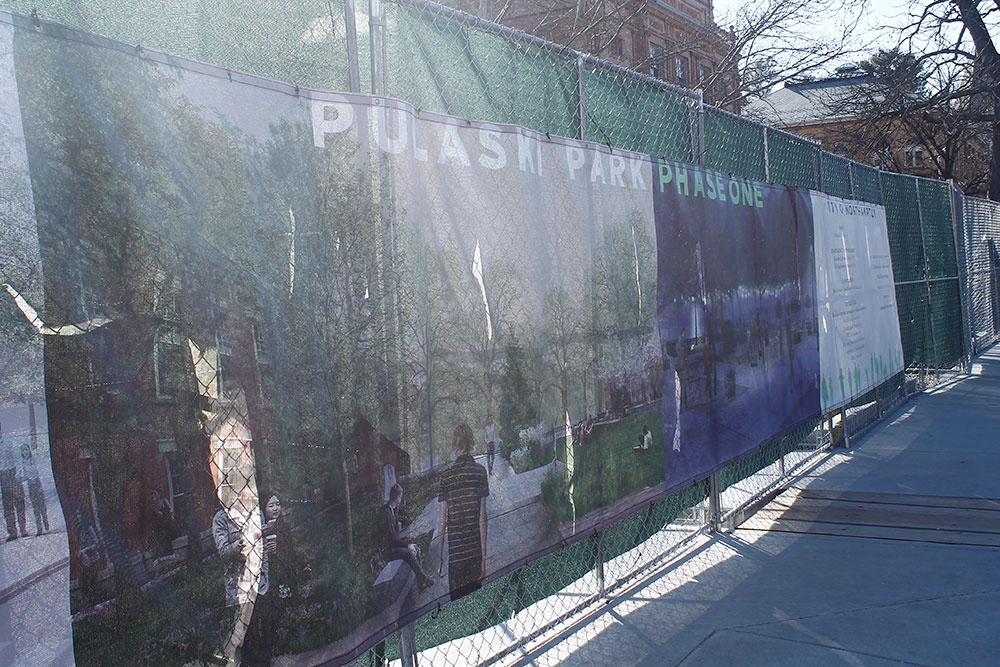 Photo by Jen Zhu '18 | Pulaski Park will open for use after the completion of the first phase.