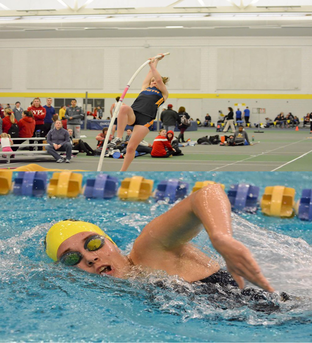 Photo Courtesy of smithpioneers.com | (Top) Smith's Track and Field team hosted the Winter Classic, and the Swimming and Diving team competed at Hamilton College.