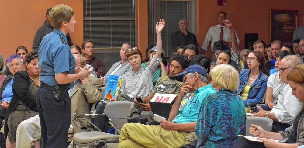 Photo Courtesy of gazettenet.com ||  Northampton Police Chief Jody Kasper, above, answers questions of residents and students on the department's proposal for new surveillance cameras.