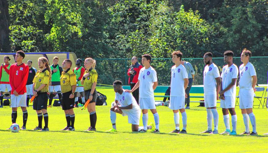 Photo Courtesy of gazettenet.com || Athletes at Amherst College have taken a cue from their professional counterparts to take a knee during the national anthem in protest of police brutality.