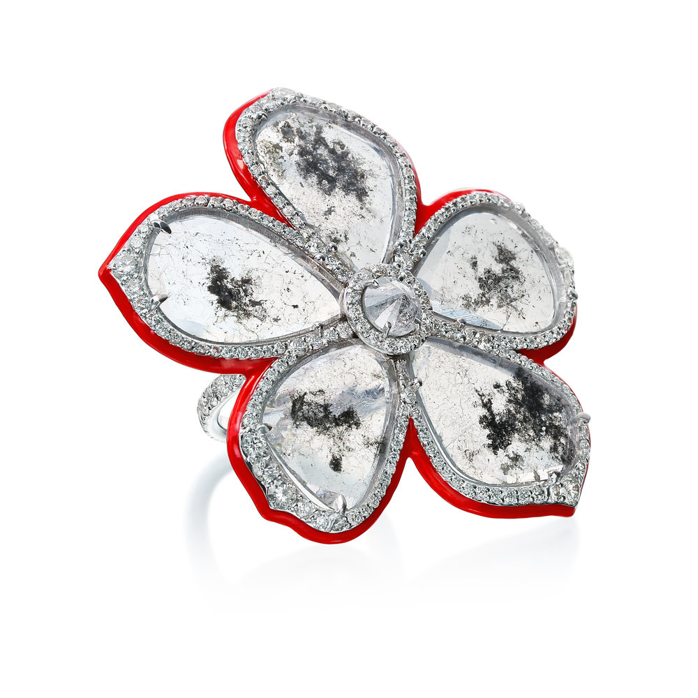 18K WG 7.16cts Slice Diamond Flower Ring with .40cts Rough Diamonds, 2.34cts Pave Diamonds and Red Enamel (Retail $39,000) .jpg