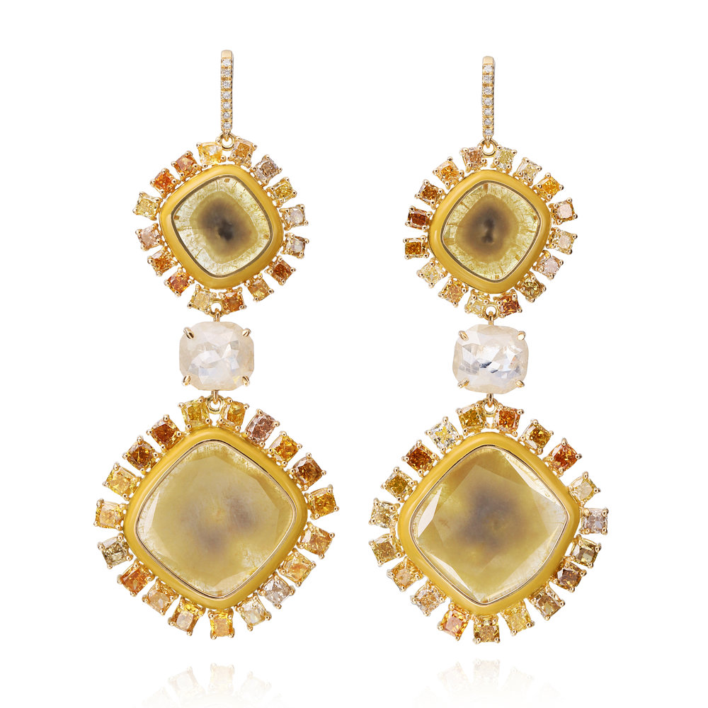 18K YG 10.77cts Yellow Slice Diamond Earrings surrounded with 13.41cts Fancy Colored Diamonds and 3.32cts Milky Cushion Cut Rough Diamonds with Mustard Enamel (Retail $60,000) .jpg