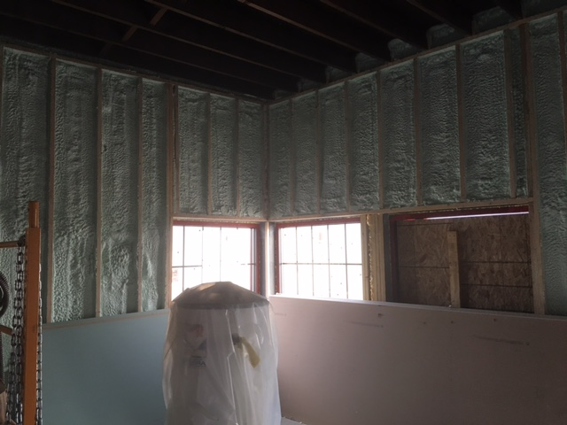 Spray Foam going in - Thankful for a brother-in-law giving his time and talents to help on the building!