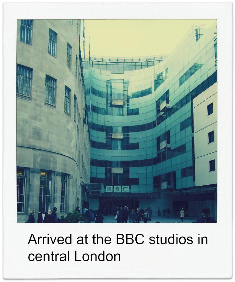 BBC studio arrival