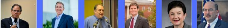 Democratic Candidates (l-r) Roger Berliner, David Blair, Mark Elrich, William Frick. Roe Krasnow, George Leventhal