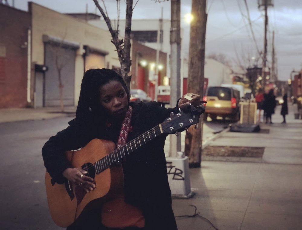 Outside Atelier Roquette with Jenn Mundia to sneak in a rehearsal in Red Hook, Bk.