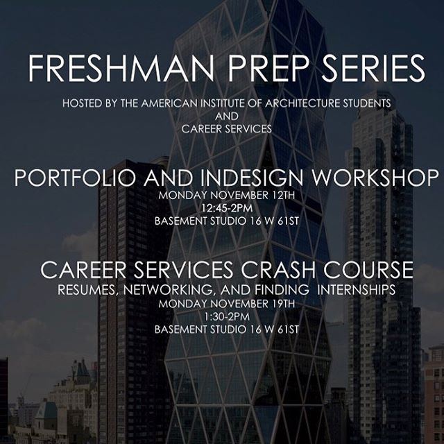 ATTENTION FIRST YEAR STUDENTS: AIAS is presenting this special 2-part series specifically for you! November 12th will focus on portfolios and using InDesign, November 19th will discuss networking, resumes, and finding your first internship! Both are held in the basement right before/after your studio-see you there!