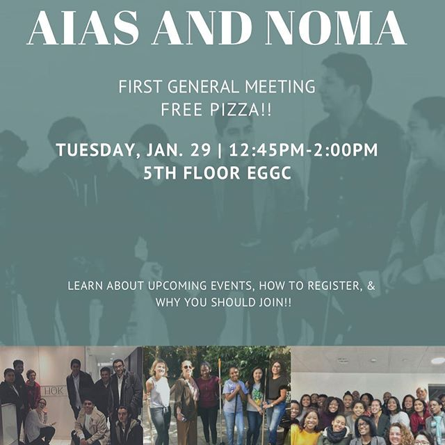 Hey everyone, we're having our first general meeting TOMORROW AT 12:45-2pm on the FIFTH FLOOR OF EGGC!! Please come and see why you should join this nation wide architecture organization that will give you leadership experience, skills, knowledge, networking and more. Newly formed NOMA NYIT, will also be presenting!  Also we will have FREE PIZZA!! 🍕🍕
