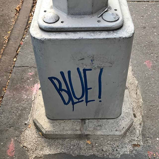 "‪""Draw The Blue Line"" is over. It was an exciting & educational experiment. I'm super happy & will recap soon. (Street art: author unknown)‬ . . . #DrawTheBlueLine #ThankYou #streetart #rogue #didntlastaweek #gettingapermit #artist #experiment #resist #climatechange #exclamationpoint"