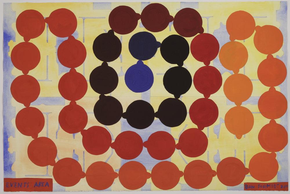 """Events Area,"" gouache on paper, 26"" x 39"", 2011"