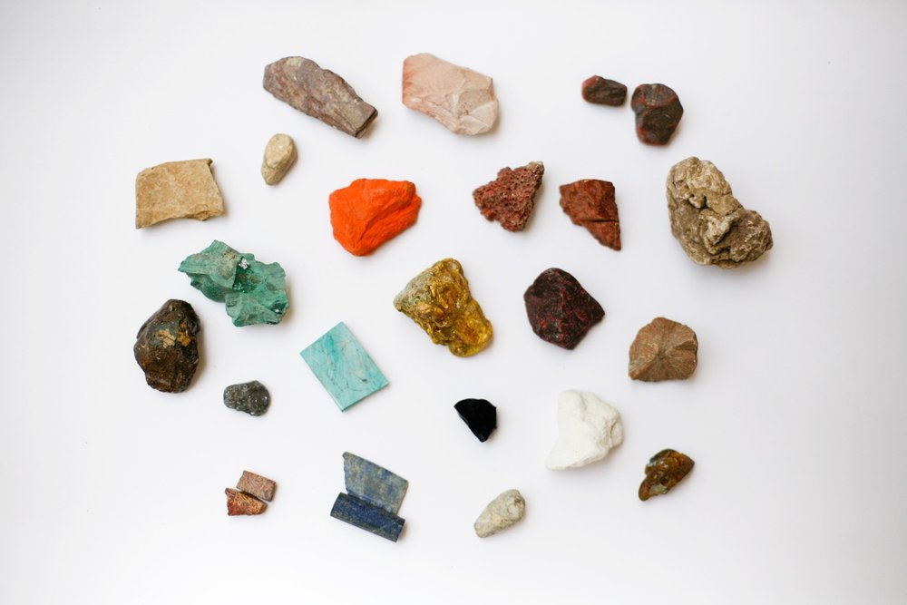 Raw mineral stones that make up a classic palette for Indian Miniature Painting.