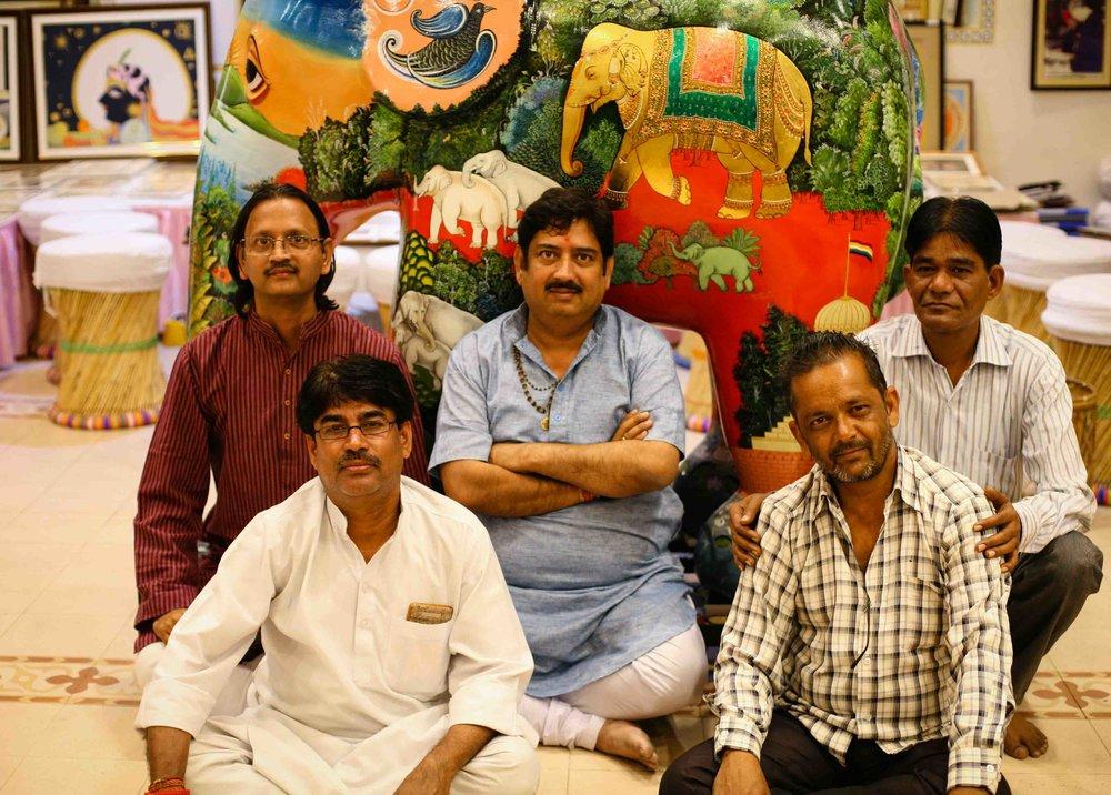 Clockwise from back left: Shyamu Ramdev, Ramu Ramdev, Sita Ram, Bobby, Vinodji