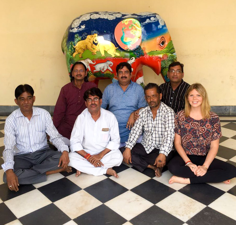 Photographed with my teachers and team of artists, as the finished artwork prepares to set off to Delhi.