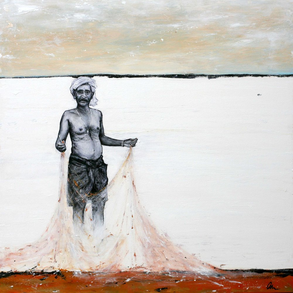 Kerala Fisherman, 90x90cm, acrylics on canvas.