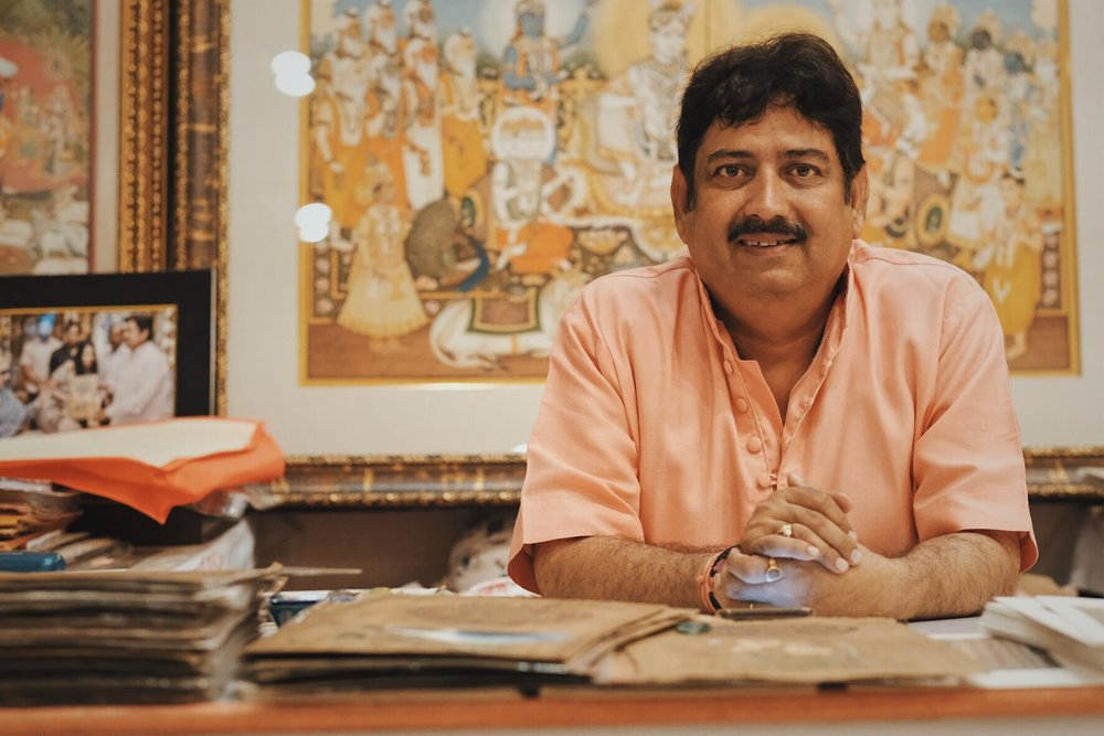 Sri Ramu Ramdev, Royal Artist and National Award Winner for Indian Miniature Painting. Portrait by Precious La Plante.